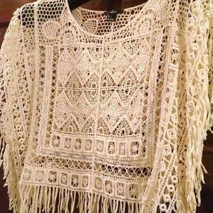 Forever 21 Beige Bohemian Crochet Fringed Poncho S